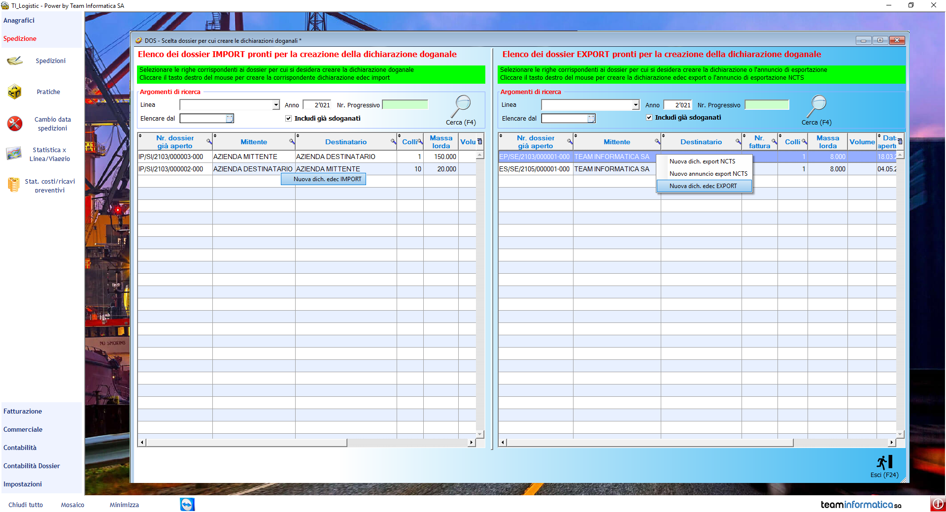 Screen del software logistica e trasporti